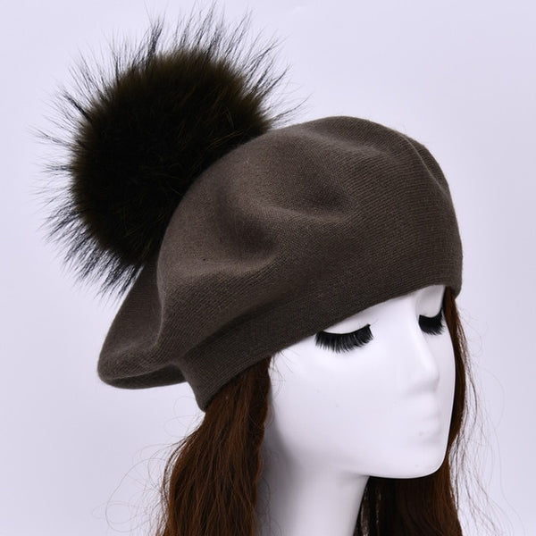 Autumn Winter Berets Hat Women Casual Knitted Wool Beret with Real Raccoon Fur Pom Pom Ladies Angola Cashmere Beret Hat Female
