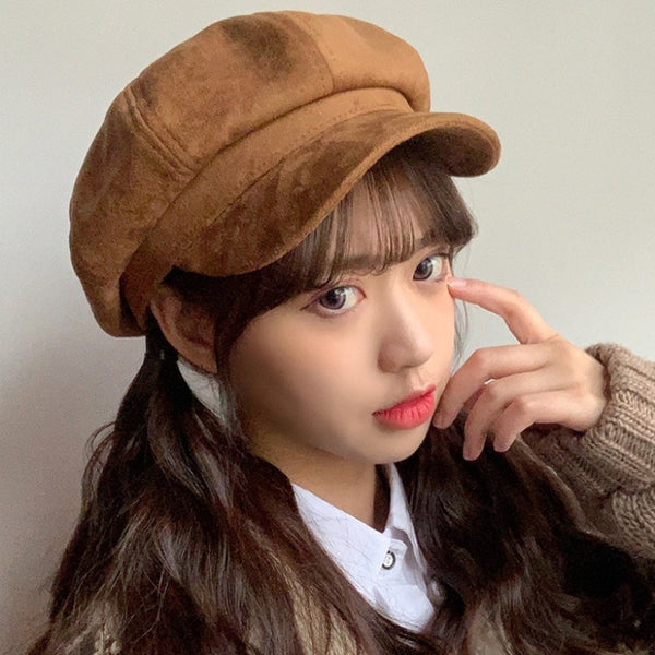 Suede Women Newsboy Caps Fashion Artist Painter Octagonal Cap Autumn Winter Warm Newsboy Beret Hat Solid Lovely Causal Casquette