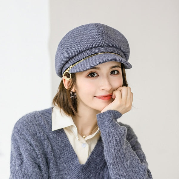 2020 New Autumn Winter Elegant Women Octagonal Hat For Female fashion All-match Wool Berets Cap Retro zipper Painter Hats