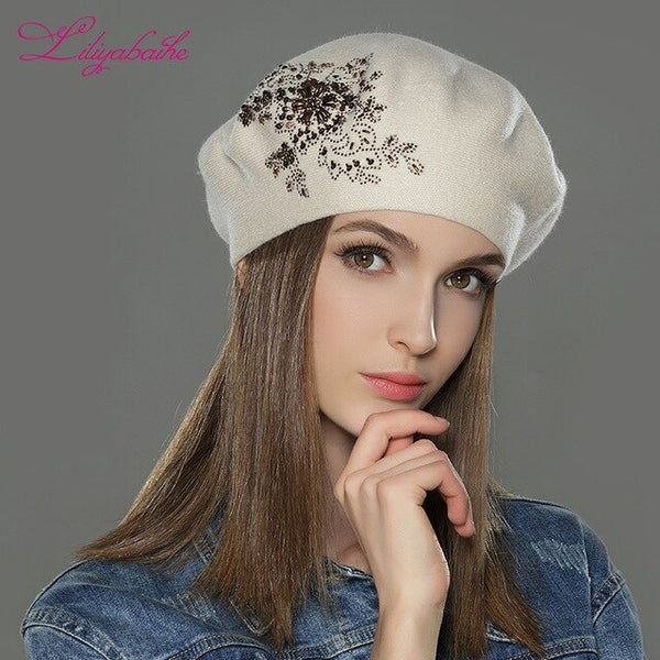 LILIYABAIHE New Women Winter Hat wool Knitted Berets Cap with flower Sequins diamond decoration solid colors fashion lady hat