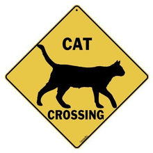 "Load image into Gallery viewer, CROSSWALKS Cat Silhouette Crossing 12"" X 12"" Aluminum Sign (X311)"