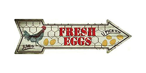 Smart Blonde Fresh Eggs Metal Arrow Street Sign