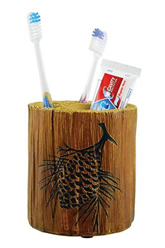 Wilcor Toothbrush Holder Wood Log with Pine Cone