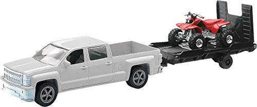 New Ray Toys 1:43 Scale Chevrolet Silverado Pick Up W/ Bike or ATV - Assorted Style And Colors