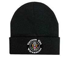 Load image into Gallery viewer, Vietnam Era Veteran and Eagle Crest - Black Beanie with Vinyl Graphic