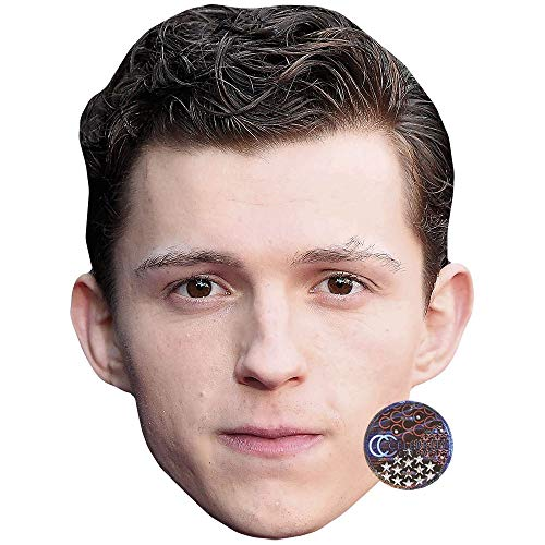Tom Holland (Brown Hair) Celebrity Mask, Flat Card Face, Fancy Dress Mask