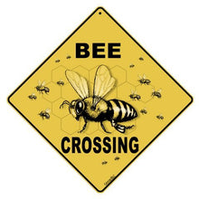 "Load image into Gallery viewer, CROSSWALKS Bee Crossing 12"" X 12"" Aluminum Sign (X43)"