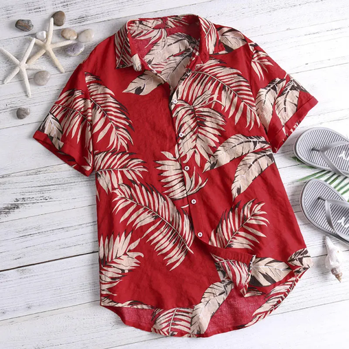 Mens Summer Vacation Beach Floral Printed Hawaiian Shirts Full Stiched