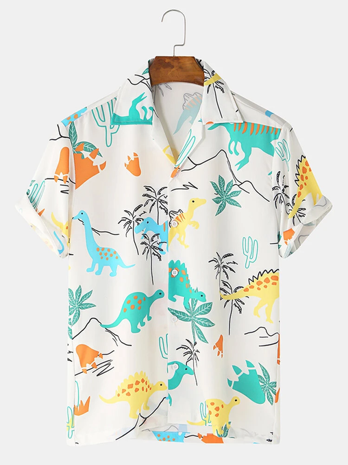 Cartoon Dinosaur Animal Printed Full Stitched Short Sleeve Casual Shirts