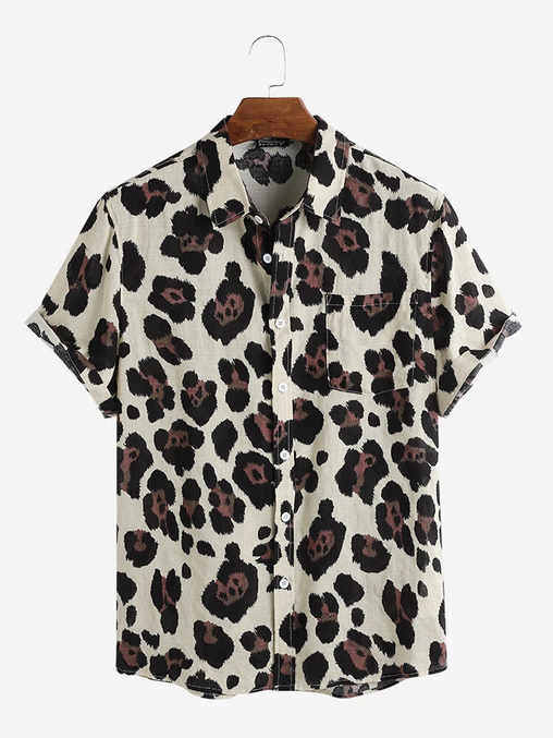 Design Leopard Print Cotton Breathable Short Sleeve Casual Holiday Shirts Full Stitched