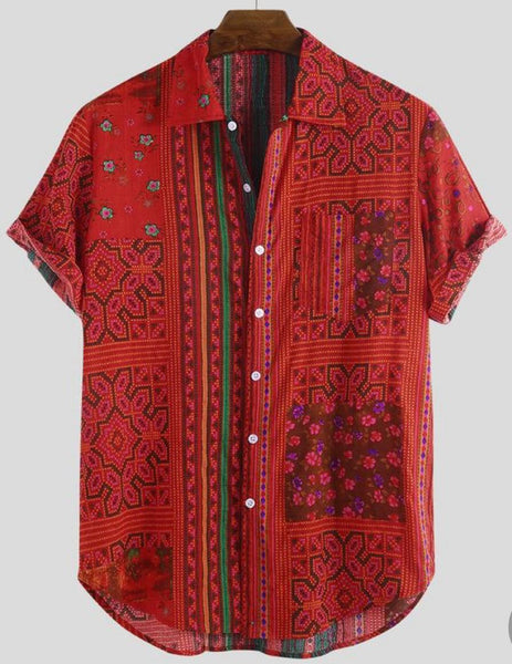 Men Multicolor Cotton Printed Turn Down Collar Short Sleeve Shirts Full Stitched