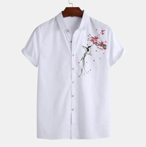 Men White Cotton Printed Turn Down Collar Short Sleeve Shirts Full Stitched