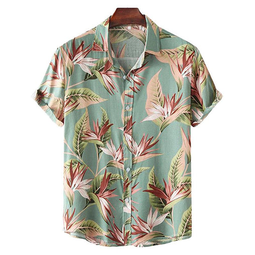 Oil Print Leaf Turn Down Collar Shirts