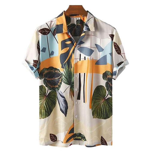 Mens Tropical Floral Print Breathable Casual Shirt