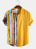 Men Gradient Stripe Print Patchwork Chest Pocket Short Sleeve Casual Holiday Shirts Full Stitched