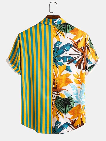 Men Tropical Leaf Colorful Stripe Mixed Print Short Sleeve Casual Holiday Shirts Full Stitched