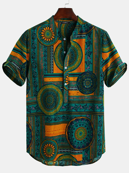 Men's Vintage Floral Ethnic Shirts Summer Beach Dashiki Floral Casual Full Stiched
