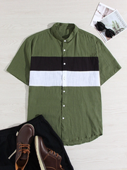 Mens 100% Cotton Light Breathable Color Block Patchwork Short Sleeve Shirts Full Stiched