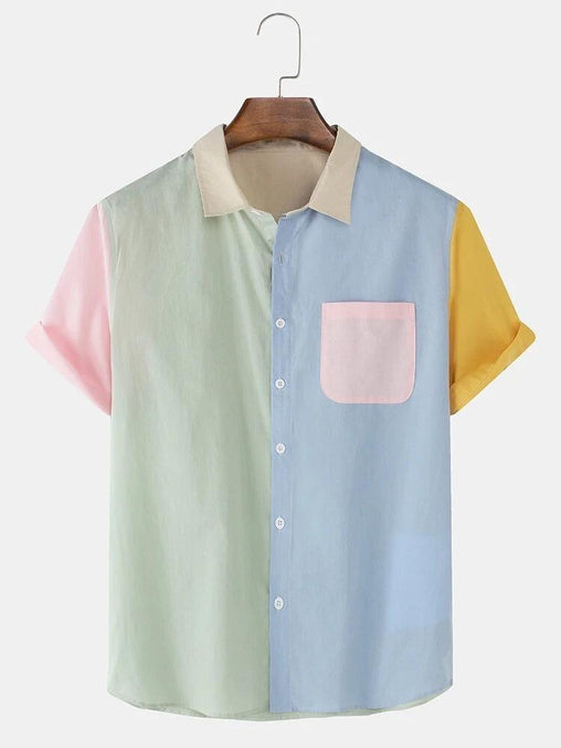 Mens 100% Cotton Patchwork Casual Short Sleeve Shirts With Pocket Full Stiched