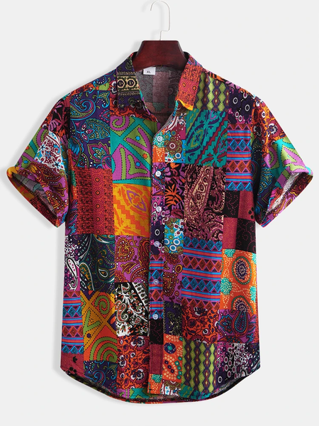 Mens Cotton Ethnic Pattern Print Floral Casual Short Sleeve Shirts Full Stiched