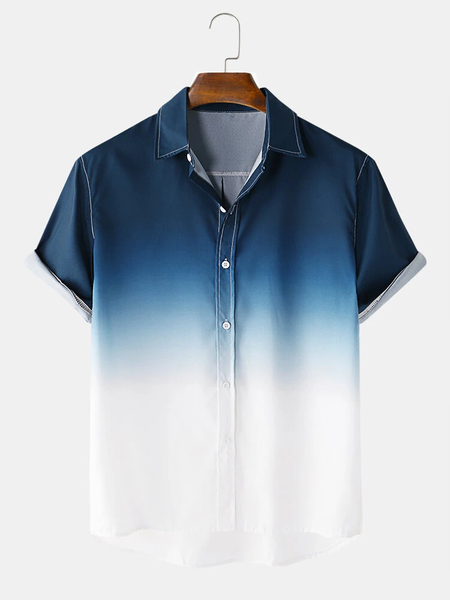 Mens Designer Gradient Fold Down Collar Short Sleeve Casual Shirts Full Stitched