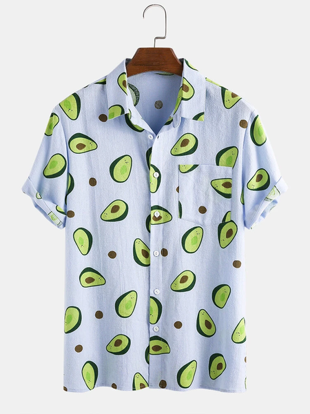 Mens Fashion Avocado Printing Breathable Short Sleeve Casual Shirts Full Stiched