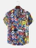 Mens Fashion Multi Patterns Printing Abstract Breathable Casual Shirts Full Stitched