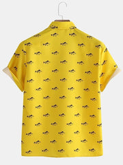 Mens New Fashion Casual Fish Printed Short Sleeve Shirts Full Stitched