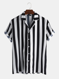 Mens New Fashion Trendy Black Striped Short Sleeved Shirts Full Stitched