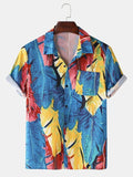 Mens Oil Painting Tropical Leaves Print Turn Down Collar Short Sleeve Holiday Beach Shirts Full Stiched