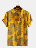 Pine Leaves Print Cotton Short Sleeve Relaxed Shirts Full Stiched