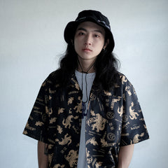 KAIJU X SUPERCREW CUBAN SHIRT (BLACK GOLD)