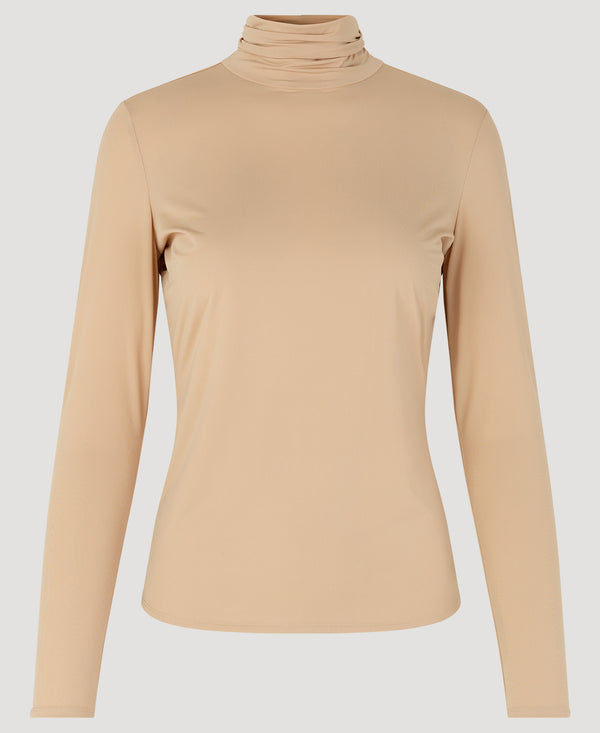 Melanie High Neck Blouse Nude