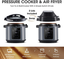 Load image into Gallery viewer, MICHELANGELO Pressure Cooker Air Fryer Combo 6 Quart | All-in-1 Pressure Cooker with Air Fryer