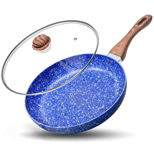 Granite Frying Pan with Lid | Nonstick Stone Frying Pan | MICHELANGELO Galaxy Collection-Blue
