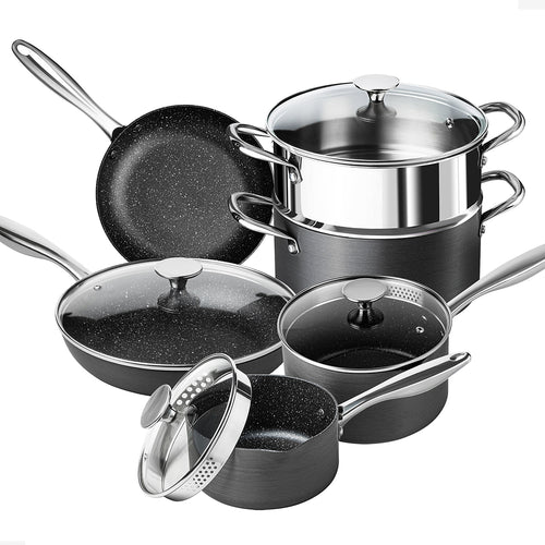 Hard Anodized Cookware Set 10 Piece | Nonstick Pots and Pans Set | MICHELANGELO Hard Anodized Collection