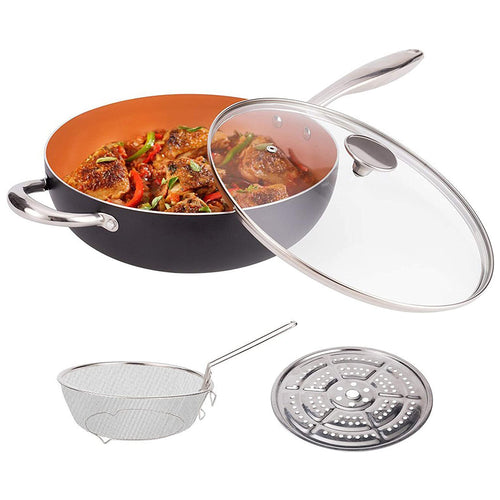 MICHELANGELO 5 Quart Nonstick Wok with Lid,Frying Basket and Steam Rack,Copper