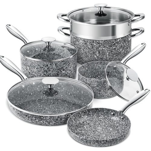 Stone Cookware Set 10 Piece | Ultra Nonstick Pots and Pans Set | MICHELANGELO Granite Collection Gray