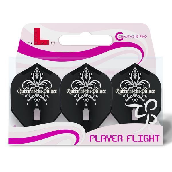 Kopie von L-Style - Fallon Sherrock Champagne Signature Flights - Queen of the Palace - black white - Flight