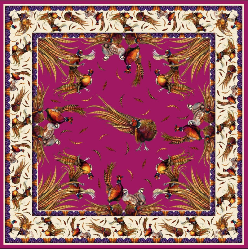 Clare Haggas Scarves Clare Haggas Silk Scarf - George and Friends in Magenta - Large