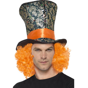 Mad Hatter Top Hat With Hair - Alice In Wonderland Style