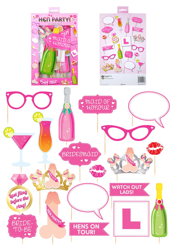 Hen Party Photo Props - Pack of 20