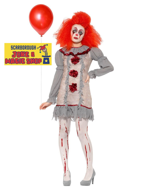 Vintage Horror Clown Lady Costume - Pennywise IT Style