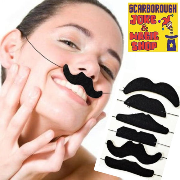 Assorted Fake Moustaches - 6 Pack Elasticated
