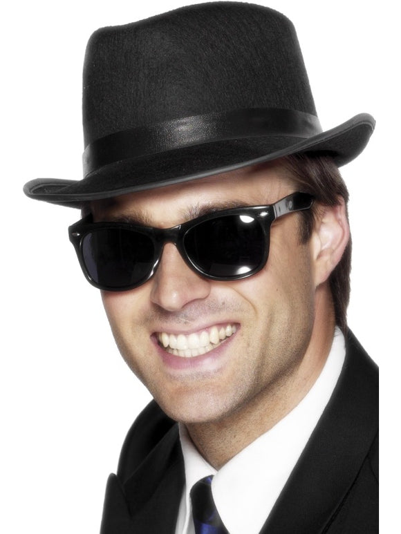50s Shades - Teddy Boy Black Sunglasses - Blues Brothers Style