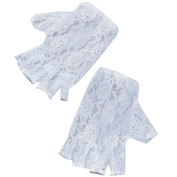 Fingerless Lace Gloves - White