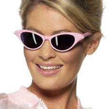 50s Shades - Pink Lady Style Sunglasses - Pink with Diamante