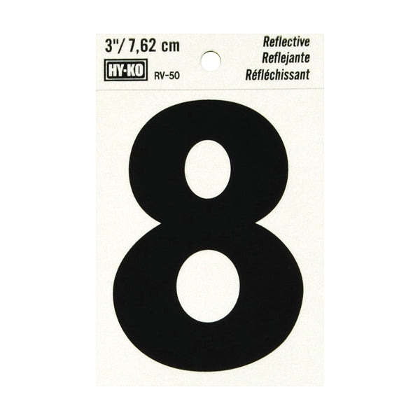 HY-KO RV-50/8 Reflective Sign, Character: 8, 3 in H Character, Black Character, Silver Background, Vinyl
