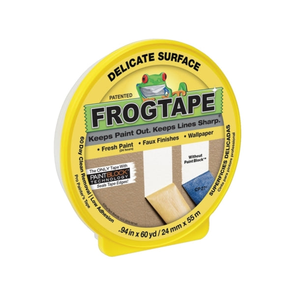 FrogTape 280220 Painting Tape, 60 yd L, 0.94 in W, Yellow