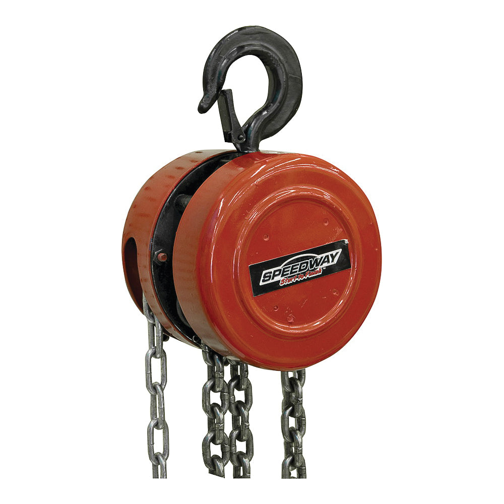 Speedway 7518 Chain Hoist, 1 ton Capacity, 9 ft 10 in H Lifting, 12-1/2 in Head Room
